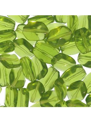 Sasso smussato, 15x12 mm., Verde oliva trasparente
