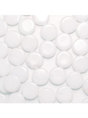 Tondo piatto, 12 mm., Bianco latte poco sfumato