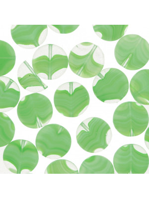 Tondo piatto, 12 mm., Verde peridot striato in bianco