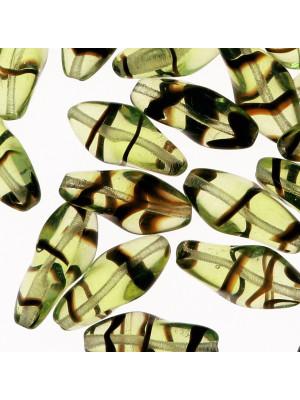 Torciglione, 19x10 mm., Verde oliva chiaro striato in marrone