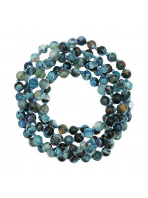 Collana di palline in vetro, effetto pietra dura, diam. 6 mm., colore TONALITA' BLU