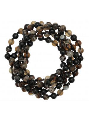 Collana di palline in vetro, effetto pietra dura, diam. 6 mm., colore TONALITA' MARRONE