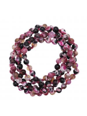 Collana di palline in vetro, effetto pietra dura, diam. 6 mm., colore TONALITA' ROSA