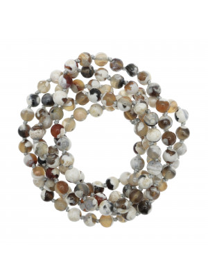 Collana di palline in vetro, effetto pietra dura, diam. 6 mm., colore TONALITA' PANNA e MARRONE