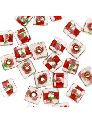 Murrina con foglia argento all'interno, a forma di cubo, 10 mm., con foro passante, colore Rosso