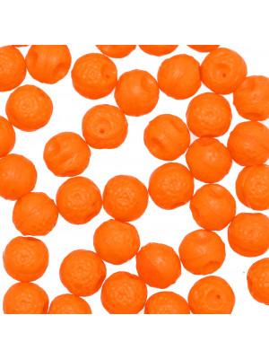 Arancia in vetro colorato, con foro in testa, 10 mm., Arancione
