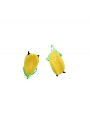 Banane in vetro colorato, con anello in vetro, 15x27 mm., Gialla con gambo verde
