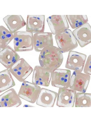 Murrina a forma di cubo , 12 mm., Rosa con trasparente sopra e disegno fiori