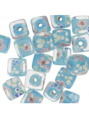 Murrina a forma di cubo , 12 mm., Azzurro con trasparente sopra e disegno fiori