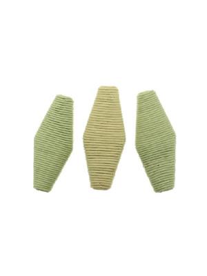 Rombo piatto in corda incollata, 48x22 mm., Verde peridot