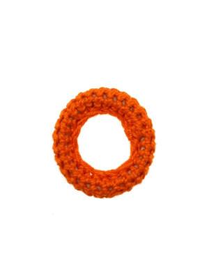 Anello in cotone all'uncinetto, 36 mm., Arancione