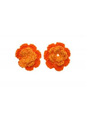 Fiore in cotone all'uncinetto, 36 mm., bicolore, Arancione chiaro + Arancione scuro