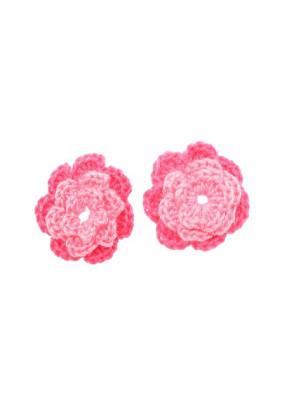 Fiore in cotone all'uncinetto, 36 mm., bicolore, Fucsia + Rosa