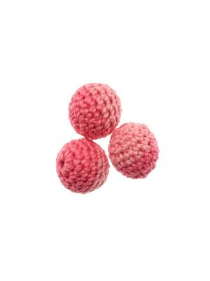 Palla in cotone all'uncinetto, bicolore, Rosa + Rosa chiaro