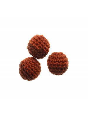 Palla in cotone all'uncinetto, bicolore, Marrone scuro + Marrone