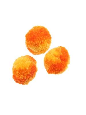 Pon pon in cotone, la misura dei pon pon può variare dai 20 ai 25 mm., bicolore, Arangione + Giallo