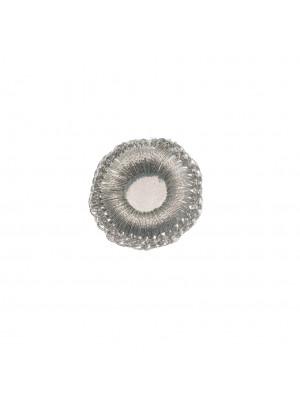 Paiette a specchio con cornice uncinetto, 20 mm., colore Argento