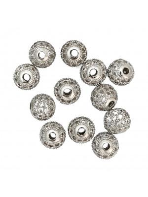 Distanziatore palla con strass piccoli, 8 mm., base argentato rodio, colore strass CRYSTAL