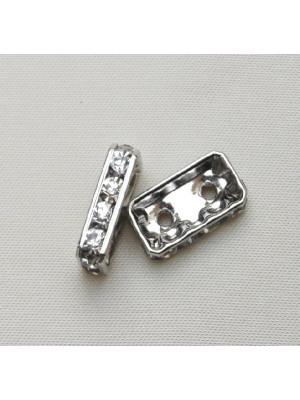 Ponte strass piatto rettangolare con 2 fori, 15x9 mm., colore strass Crystal