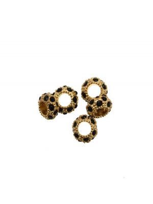 Rondella bombata strass, stretta, in metallo, 10x5,7 mm., base oro lucido, colore strass NERO