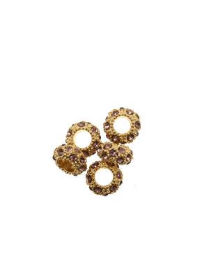 Rondella bombata strass, stretta, in metallo, 10x5,7 mm., base oro lucido, colore strass AMETISTA CHIARO