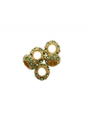Rondella bombata strass, stretta, in metallo, 10x5,7 mm., base oro lucido, colore strass VERDE CHIARO