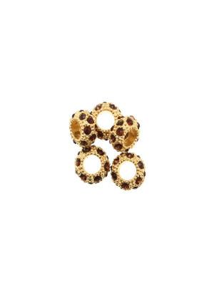 Rondella bombata strass, stretta, in metallo, 10x5,7 mm., base oro lucido, colore strass MARRONE SCURO