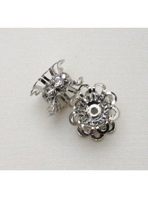 Rondella strass con due coppette laterali, 15 mm., colore strass Crystal
