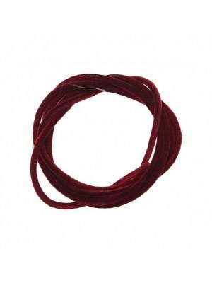 Striscia in caucciù tubolare ricoperta di velluto, lunga 85 cm., diametro 2 mm., colore Rubino