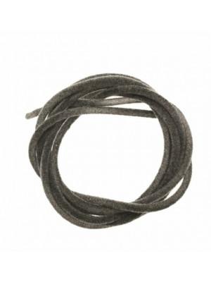 Striscia in caucciù tubolare ricoperta di velluto, lunga 85 cm., diametro 2 mm., colore Grigio