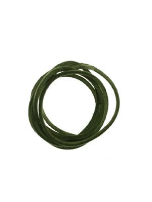 Striscia in caucciù tubolare ricoperta di velluto, lunga 85 cm., diametro 2 mm., colore Verde oliva