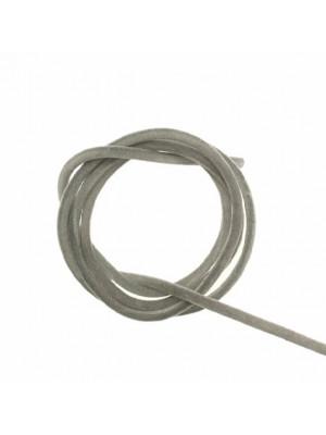 Striscia in caucciù tubolare ricoperta di velluto, lunga 85 cm., diametro 3 mm., colore Grigio chiaro