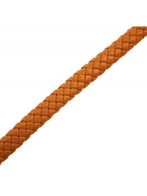 Cordoncino piatto grosso intrecciato in pelle sintetica, largo 10 mm., alto 4,5 mm., colore Arancione