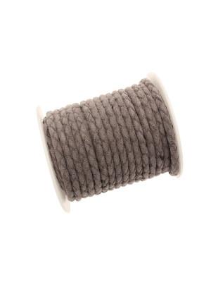 Cordoncino tubolare intrecciato, in alcantara, diametro 5 mm., colore Grigio