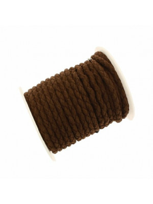 Cordoncino tubolare intrecciato, in alcantara, diametro 5 mm., colore Marrone
