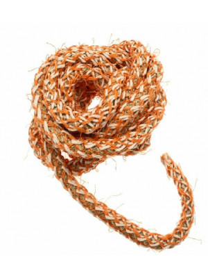 Cordoncino tubolare intrecciato, diametro 10 mm., colore base naturale intrecciato con filo beige e arancio