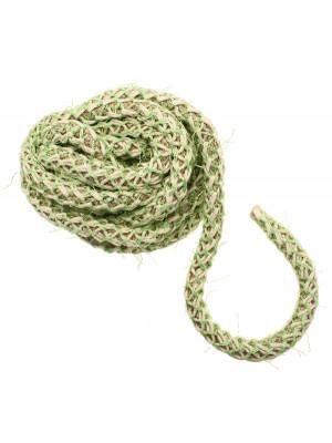 Cordoncino tubolare intrecciato, diametro 10 mm., colore base naturale intrecciato con filo beige e verde chairo
