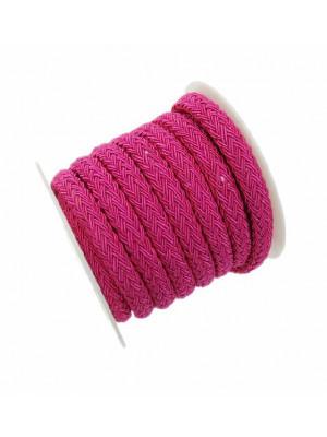Cordoncino tubolare intrecciato, sintetico, diametro 8x10 mm., colore FUCSIA