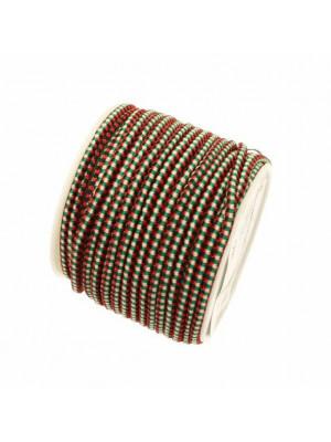 Cordoncino tubolare, sintetico ed elasticizzato, diametro 2,5 mm., colore Nero-Rosso-Giallo chiaro-Verde
