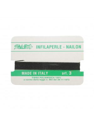 Filo infilaperle in nylon con ago compreso colore Nero, spessore 0,5 mm.