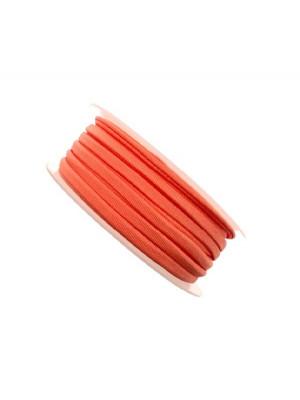 Nastro in lycra tubolare, spessore 5 mm., con cucitura a vista a lato, colore Arancione fluo