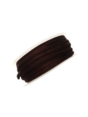 Nastro in lycra tubolare, spessore 5 mm., con cucitura a vista a lato, colore Marrone scuro effetto velluto