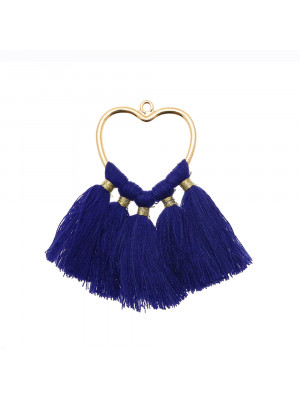 Elemento per orecchino a cuore con nappine colore BLU ELETTRICO E ORO