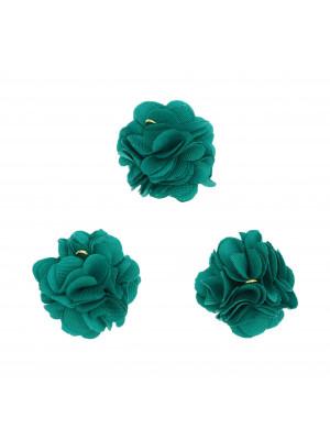 Nappina a fiore in tessuto, diametro 22 mm, colore PETROLIO, con chiodino a 9, oro lucido