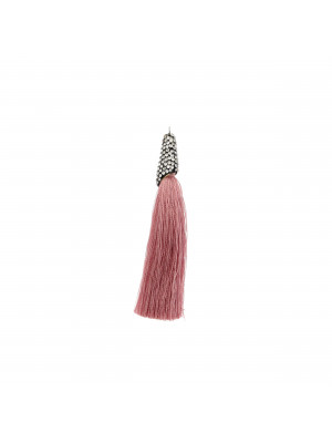 Nappina in poliestere con coppetta ricoperta di strass, con anellino, lunghezza totale 8 cm., colore Rosa Antico