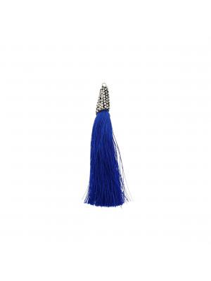 Nappina in poliestere con coppetta ricoperta di strass, con anellino, lunghezza totale 8 cm., colore Blu Elettrico