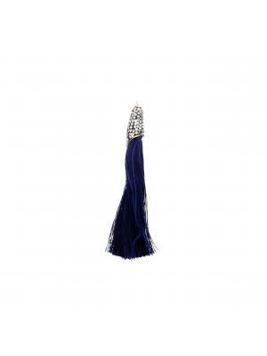 Nappina in poliestere con coppetta ricoperta di strass, con anellino, lunghezza totale 8 cm., colore Blu Scuro