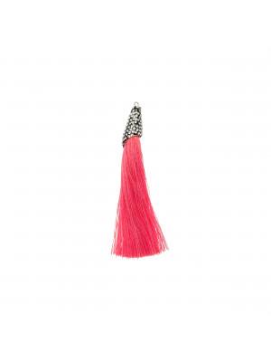 Nappina in poliestere con coppetta ricoperta di strass, con anellino, lunghezza totale 8 cm., colore Corallo