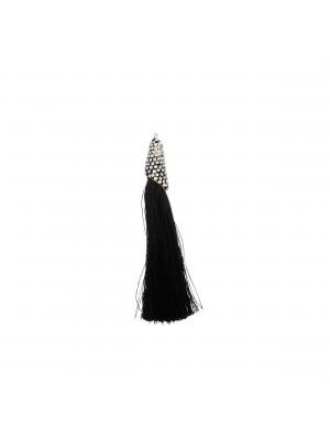 Nappina in poliestere con coppetta ricoperta di strass, con anellino, lunghezza totale 8 cm., colore Nero