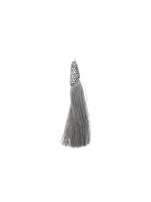 Nappina in poliestere con coppetta ricoperta di strass, con anellino, lunghezza totale 8 cm., colore Grigio